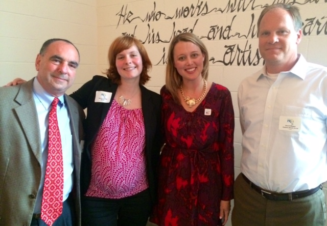 The panelists included, from left, Walker Sorrell of Business Alabama; Rachel Lindley of WBHM FM; Erin Shaw Street of Southern Living; and David Magee of Birmingham Magazine.
