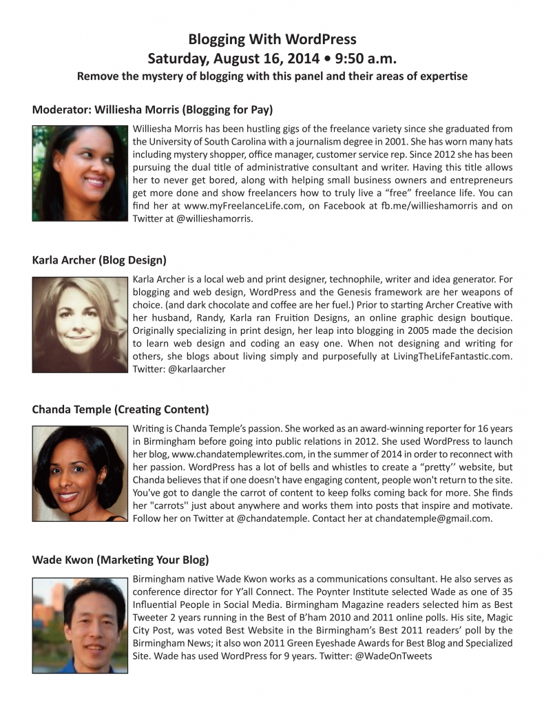 I'll be on a WordPress blogging panel on Aug. 16, 2014