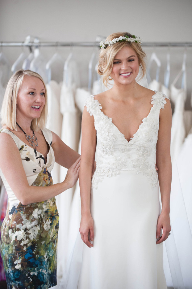 "Birmingham-based wedding gown designer Heidi Elnora Baker helps a bride on TLC's ""Bride By Design,'' which premiered in July 2014. (Image from TLC)"