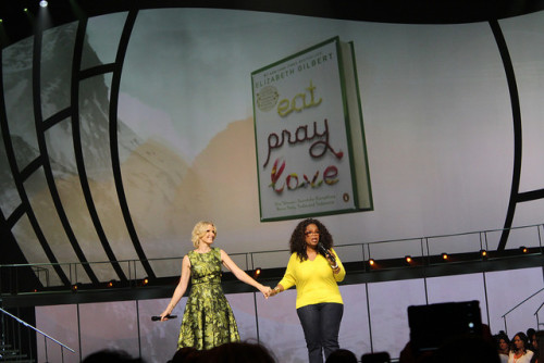 Author Elizabeth Gilbert, left, and Oprah Winfrey at the Life You Want Weekend Tour in Atlanta.  Photo by: Sonya Boatwright
