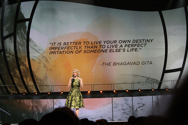 "Elizabeth Gilbert, author of ""Eat Pray Love,'' was one of of the ""trailblazer'' speakers during Oprah Winfrey's Life You Want Weekend Tour this fall.  Photo by Sonya Boatwright"