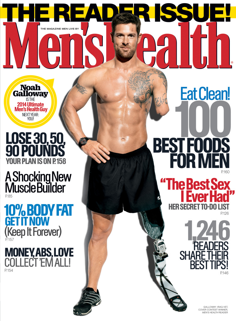 Disabled veteran Noah Galloway of Alabaster, Ala. appears on the cover of the November issue of Men's Health. Image courtesy Men's Health.