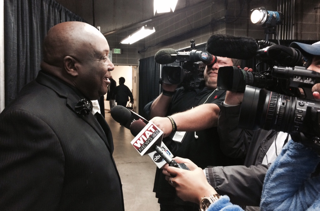 Emanuel Bell talks to the Birmingham after his Lady Dragons beat Brewbaker Tech 49-29. (Photo by Chanda Temple)