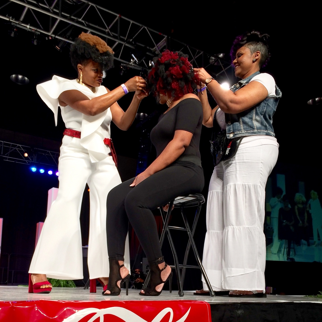 Hair stylists display their skills at the hair show. (Photo by: Chanda Temple)