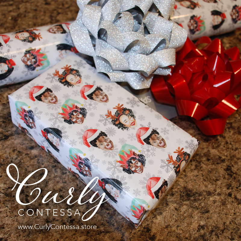 Curly Contessa wrapping paper was created by Birmingham graphic artist Kristin Farmer. It features watercolor images of five women with natural hair. Farmer created the images. (Photo credit: Special)